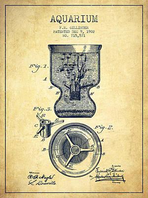 1902 Aquarium Patent - Vintage Poster by Aged Pixel