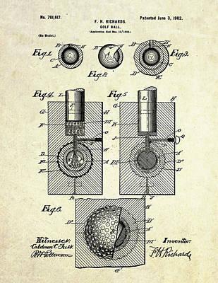 1902 Golf Ball Patent Art Poster