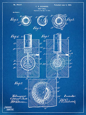 1902 Golf Ball Patent Artwork - Blueprint Poster by Nikki Marie Smith