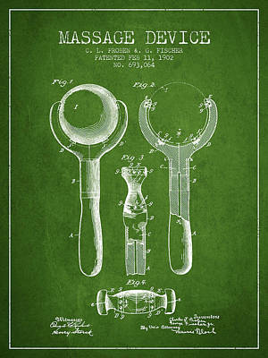 1902 Massage Device Patent - Green Poster by Aged Pixel
