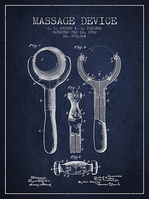 1902 Massage Device Patent - Navy Blue Poster by Aged Pixel
