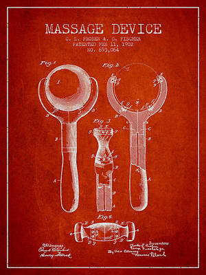 1902 Massage Device Patent - Red Poster by Aged Pixel