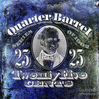 1902 Quarter Beer Barrel Tax Stamp Blue Poster