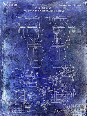 1902 Watchmakers Lathes Patent Blue Poster by Jon Neidert
