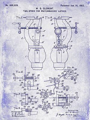 1902 Watchmakers Lathes Patent Blueprint Poster by Jon Neidert