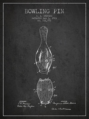 1903 Bowling Pin Patent - Charcoal Poster by Aged Pixel