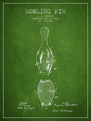 1903 Bowling Pin Patent - Green Poster by Aged Pixel