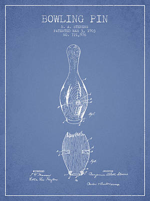 1903 Bowling Pin Patent - Light Blue Poster by Aged Pixel