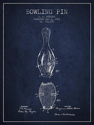 1903 Bowling Pin Patent - Navy Blue Poster by Aged Pixel