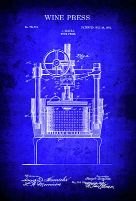 1903 Commercial Wine Press Blueprint Patent Poster