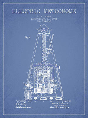 1903 Electric Metronome Patent - Light Blue Poster by Aged Pixel
