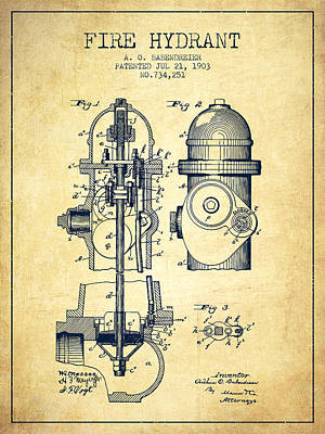 1903 Fire Hydrant Patent - Vintage Poster by Aged Pixel