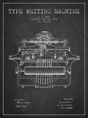 1903 Type Writing Machine Patent - Charcoal Poster