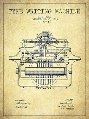1903 Type Writing Machine Patent - Vintage Poster by Aged Pixel
