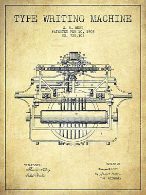 1903 Type Writing Machine Patent - Vintage Poster