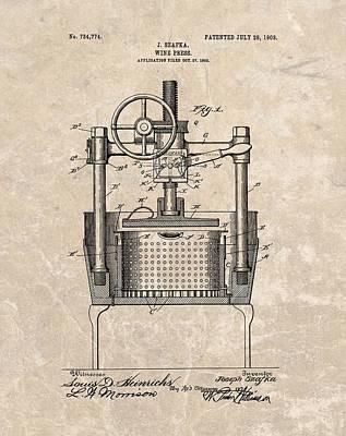 1903 Wine Press Patent Poster
