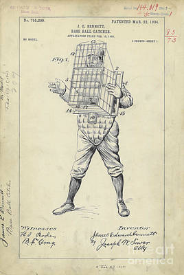 1904 Baseball Catcher Patent Poster