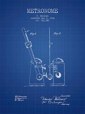1904 Metronome Patent - Blueprint Poster by Aged Pixel