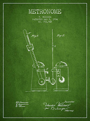 1904 Metronome Patent - Green Poster by Aged Pixel