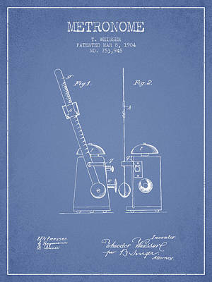 1904 Metronome Patent - Light Blue Poster by Aged Pixel