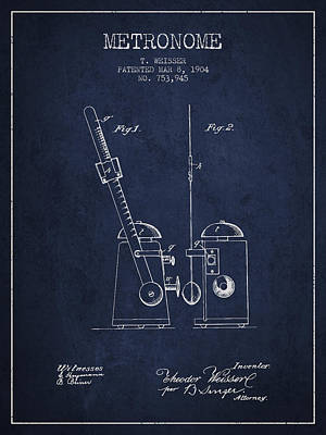 1904 Metronome Patent - Navy Blue Poster by Aged Pixel