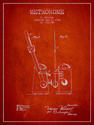 1904 Metronome Patent - Red Poster by Aged Pixel