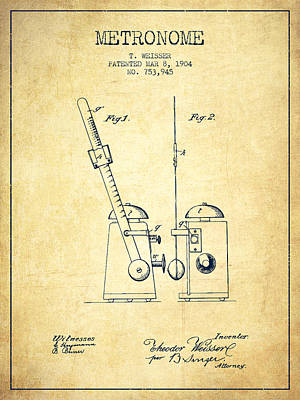 1904 Metronome Patent - Vintage Poster by Aged Pixel