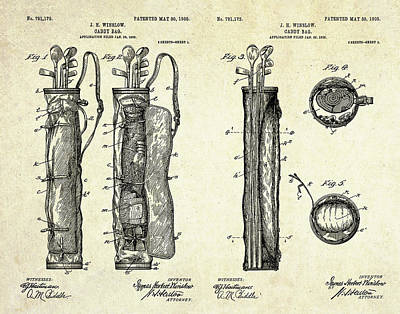 1905 Caddy Bag Patent Art Sheets Poster by Gary Bodnar