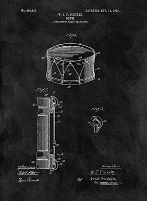 1905 Drum Patent Illustration Poster by Dan Sproul