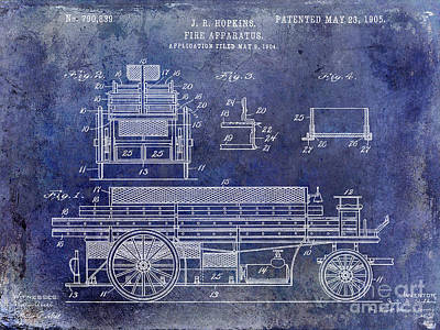 1905 Fire Apparatus Blue Poster
