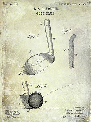 1905 Golf Club Patent Poster by Jon Neidert