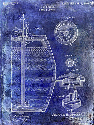 1907 Beer Tapper Patent Blue Poster by Jon Neidert