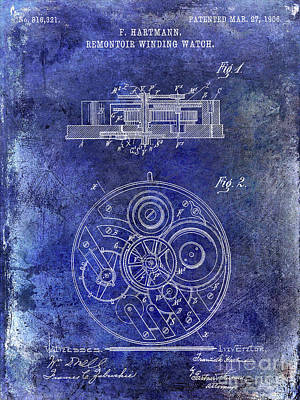 1908 Pocket Watch Patent Blue Poster by Jon Neidert
