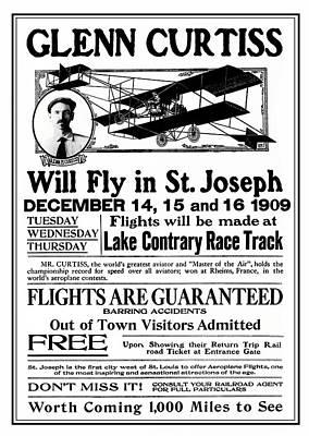 1909 Glenn Curtiss Air Show Flyer Poster