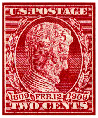 1909 Lincoln Centenary Stamp Poster by Historic Image