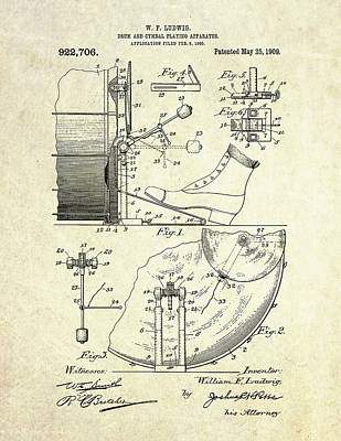 1909 Ludwig Drum And Cymbal Patent Poster