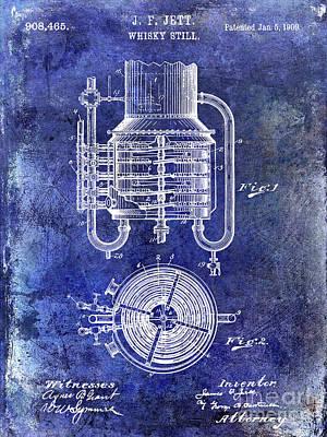 1909 Whiskey Still Patent Blue Poster by Jon Neidert