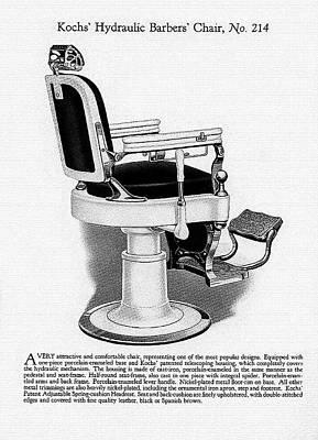 1910 Kochs' Hydraulic Barbers' Chair, No. 214 Poster by Jovemini ART