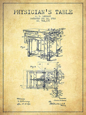 1910 Physicians Table Patent - Vintage Poster by Aged Pixel