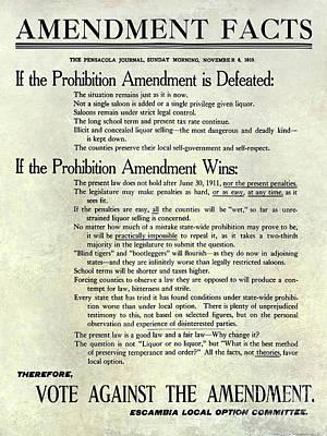 1910 Prohibition Amendment Facts Poster