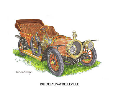 Poster featuring the painting 1911 Delaunay Belleville Open Tourer by Jack Pumphrey