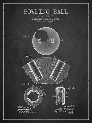 1912 Bowling Ball Patent - Charcoal Poster