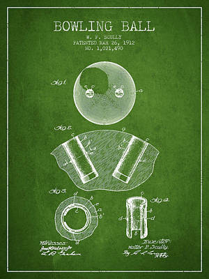 1912 Bowling Ball Patent - Green Poster by Aged Pixel