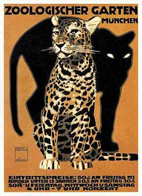 1912 Ludwig Hohlwein Leopard Munich Zoo Poster Poster