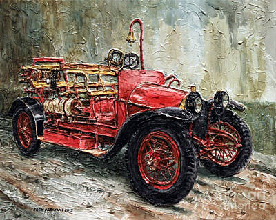 Poster featuring the painting 1912 Porsche Fire Truck by Joey Agbayani