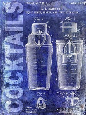 1913 Cocktail Shaker Blue Poster