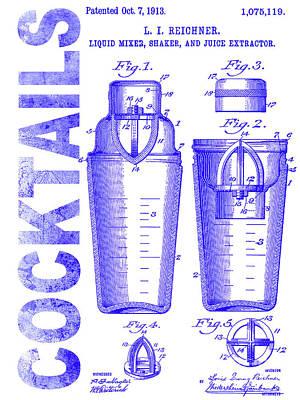 1913 Cocktail Shaker Patent Blueprint Poster by Jon Neidert