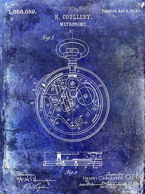 1913 Pocket Watch Patent Blue Poster by Jon Neidert