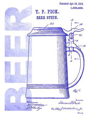 1914 Beer Stein Patent Blueprint Poster