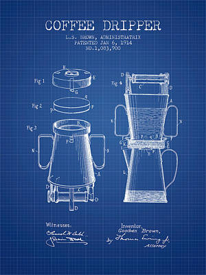 1914 Coffee Dripper Patent - Blueprint Poster by Aged Pixel